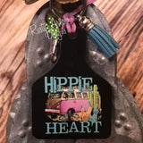 Hippie Heart Livestock Ear Tag Key Chain