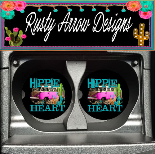 Hippie Heart Set of 2 Car Coasters - Car Coasters