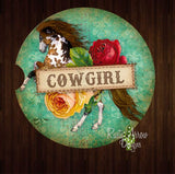 Horses and Cowgirls Set of 2 Car Coasters - Car Coasters