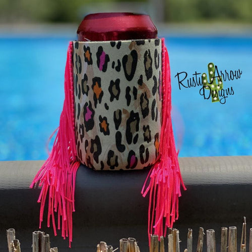 Hot Pink and Orange Cheetah Fringe Trim 12 oz Koozie - Koozie