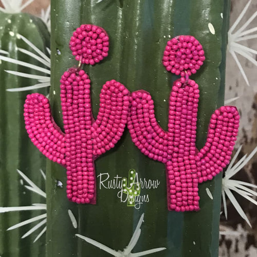 Hot Pink Seed Bead Cactus Ear Rings