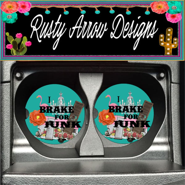 I Break for Junk Set of 2 Car Coasters - Car Coasters