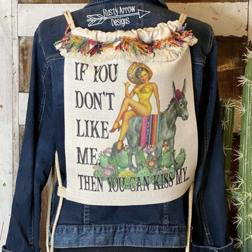 If you dont like me you can kiss my... Linen Drawstring Backpack