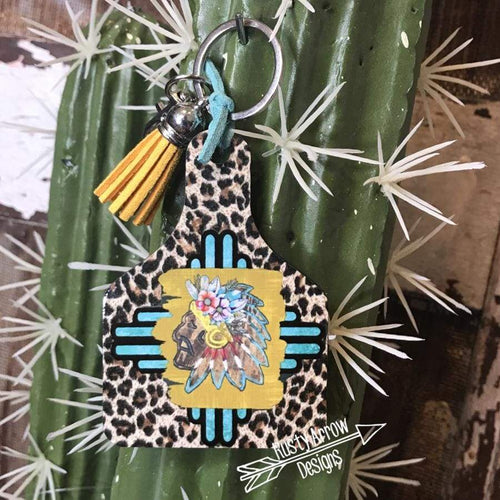Indian Chief Cheetah Livestock Ear Tag Key Chain