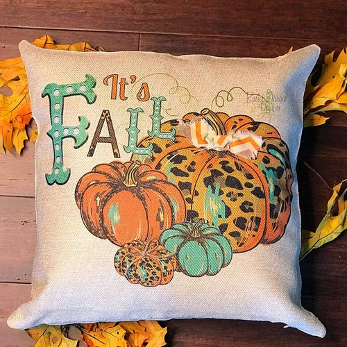 Its Fall Cheetah and Turquoise Pumpkins Decorative Throw Pillow - Pillow