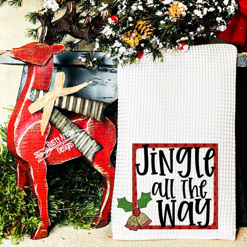 Jingle all the way Waffle Weave Tea Towel