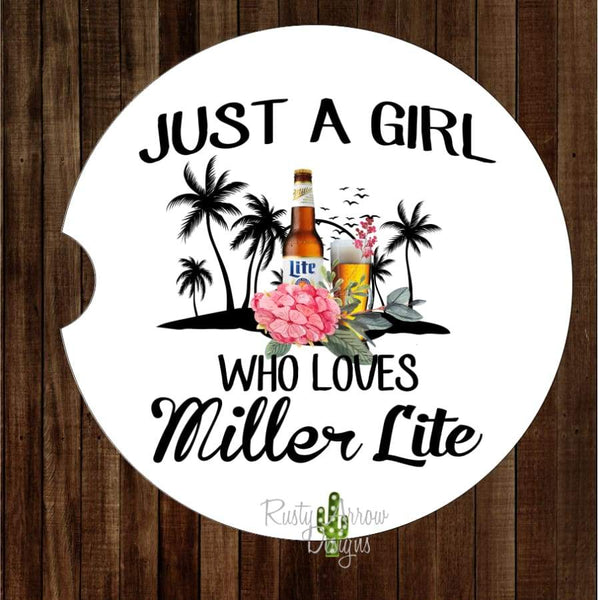 Just a Girl Who Loves Miller Lite Set of 2 Car Coasters - Car Coasters