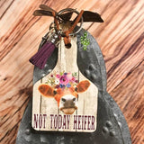 Key Chain Not Today Heifer Cattle Ear Tag - Cattle Ear Tag Keychain