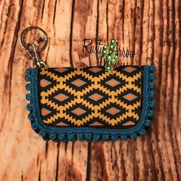 Key Chain Wallet - Blue and Yellow Aztec