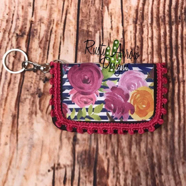 Key Chain Wallet - Stripes and Flowers Pink