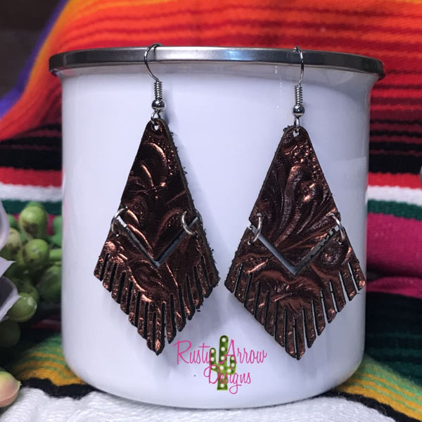 Leather Copper Metallic Floral Embossed Fringe Ear Rings