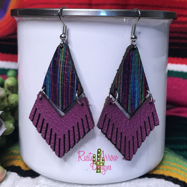 Leather Fuchsia Serape Fringe Ear Rings