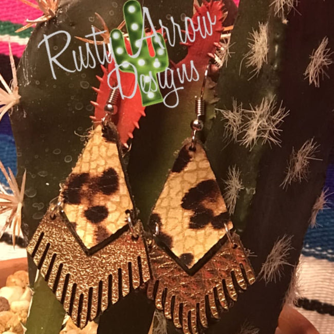 Leather Leopard Fringe Ear Rings
