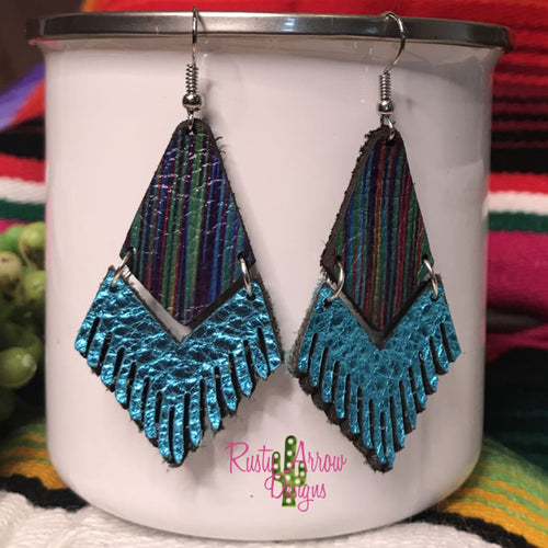 Leather Metallic Turquoise Serape Fringe
