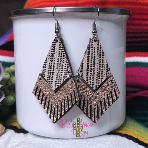 Leather Rose Gold Rain Fringe Ear Rings