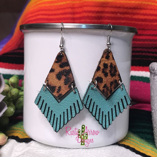 Leather Turquoise Tigers Eye Fringe Ear Rings