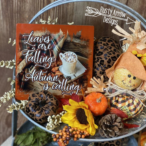 Leaves are Falling Tiered Tray Sign/ Picture