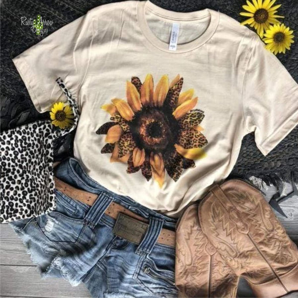 Leopard Sunflower Tee - Small / Cream
