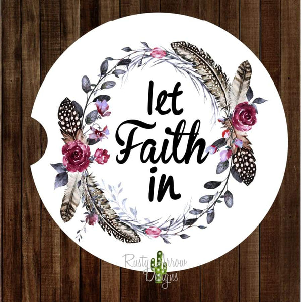 Let Faith In Set of 2 Car Coasters - Car Coasters