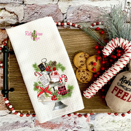 Let it Snow Red Waffle Weave Tea Towel