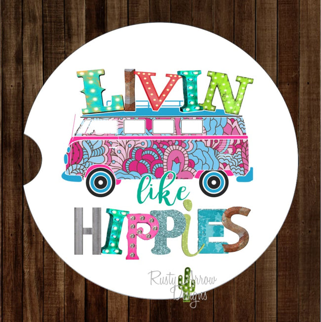 Livin Like Hippies Set of 2 Car Coasters - Car Coasters