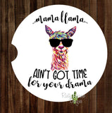 Llama Drama Set of 2 Car Coasters - Car Coasters