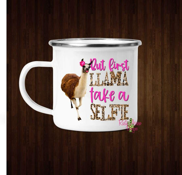 Llama Selfie Coffee Mug - 11 oz. Camp Cup Mug Stainless Steel - Mug