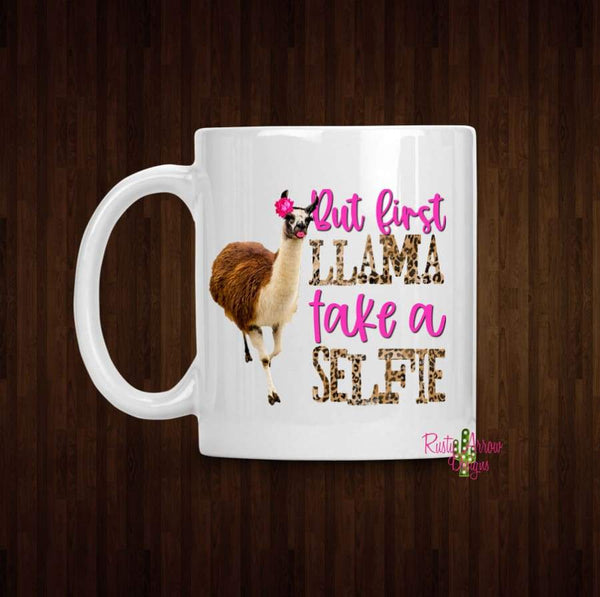 Llama Selfie Coffee Mug - 11 oz White Ceramic - Mug