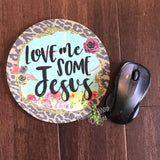Love Me some Jesus 8 Neoprene Round Mouse Pad - Mouse Pad