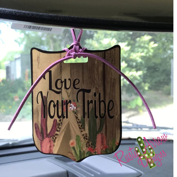 Love your Tribe Rear View Mirror Charm Bag Tag or Christmas Ornament