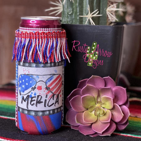 Flip Flops and Fireworks Fringe Bottle or Can Slim Koozie