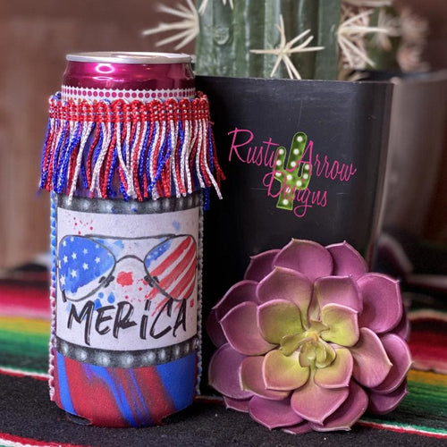 Merica Fringe Bottle or Can Slim Koozie - Koozie