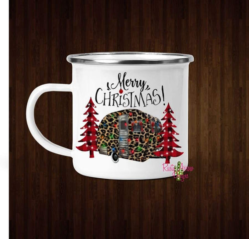 Merry Christmas Cheetah Camper Here Coffee Mug - 11 oz. Camp Cup Mug Stainless Steel - Mug