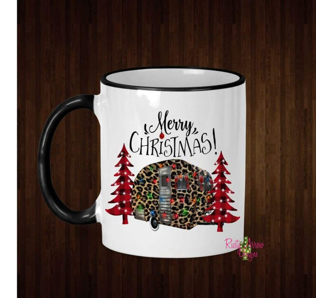 Merry Christmas Cheetah Camper Here Coffee Mug - 11 Oz Ceramic mug with black handle - Mug