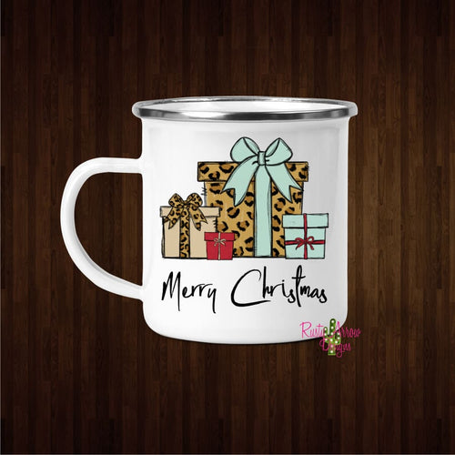 Merry Christmas Cheetah Presents 11oz Metal Camp Mug - Mug