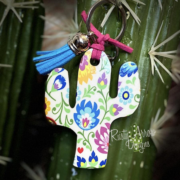 Mexico Flowers Cactus Key Chain