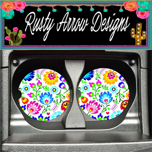 Mexico Flowers Set of 2 Car Coasters - Car Coasters