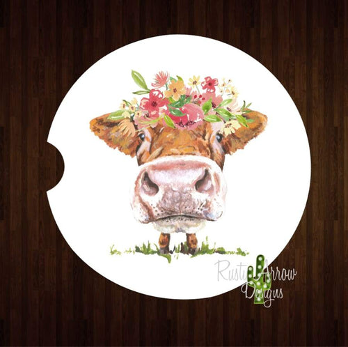 Mooo Cow Set of 2 Car Coasters - Car Coasters