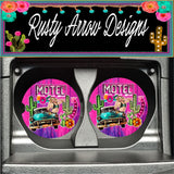 Motel Cactus Set of 2 Car Coasters - Car Coasters