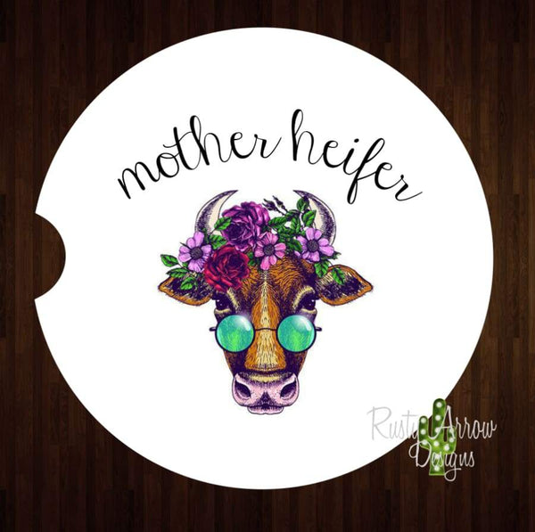 Mother Heifer Set of 2 Car Coasters - Car Coasters