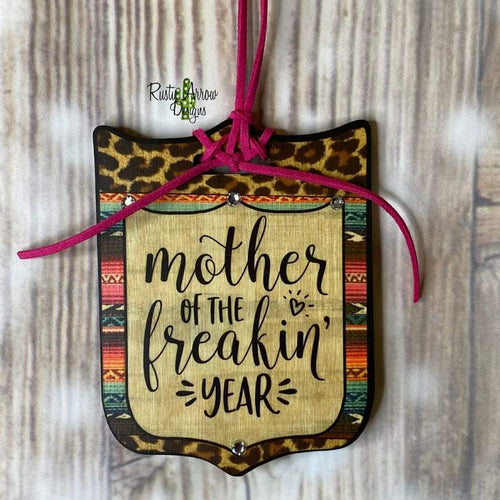 Mother of the Year Tag Rear View Mirror Hanger Christmas Ornament Bag Tag