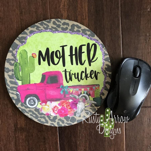 Mother Trucker 8 Neoprene Round Mouse Pad - Mouse Pad