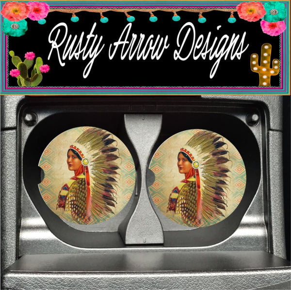 Native Lady Set of 2 Car Coasters - Car Coasters