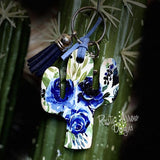 Navy Blue Flowers Cactus Key Chain