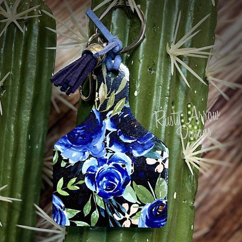 Navy Blue Flowers Livestock Ear Tag Key Chain
