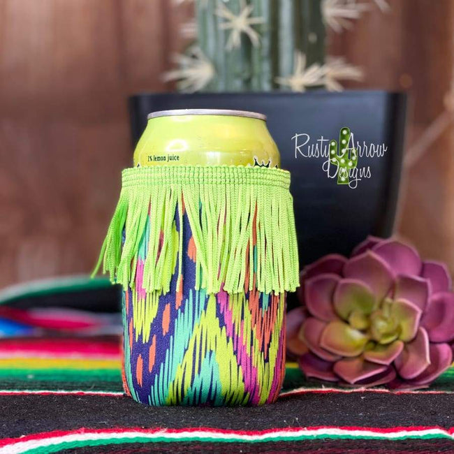 Neon Aztec Fringe Regular 12oz or Can Slim Koozie - Koozie