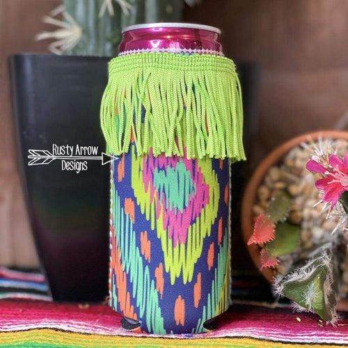 Neon Aztec Fringe Bottle or Can Slim Koozie - Koozie