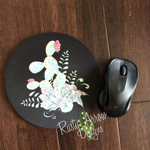 Neon Cactus 8 Neoprene Round Mouse Pad - Mouse Pad