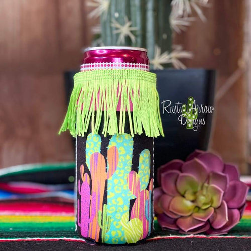 Neon Cactus Fringe Bottle or Can Slim Koozie - Koozie