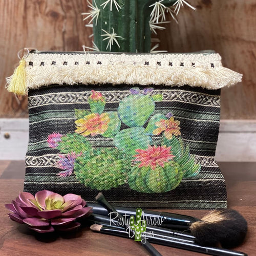 Neon Cactus Makeup Cosmetic Bag
